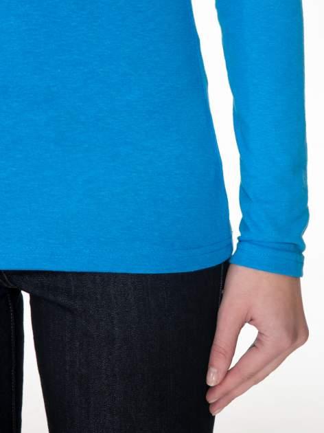 Niebieska gładka bluzka z reglanowymi rękawami                                  zdj.                                  6