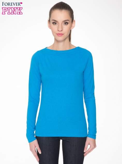 Niebieska gładka bluzka z reglanowymi rękawami                                  zdj.                                  1