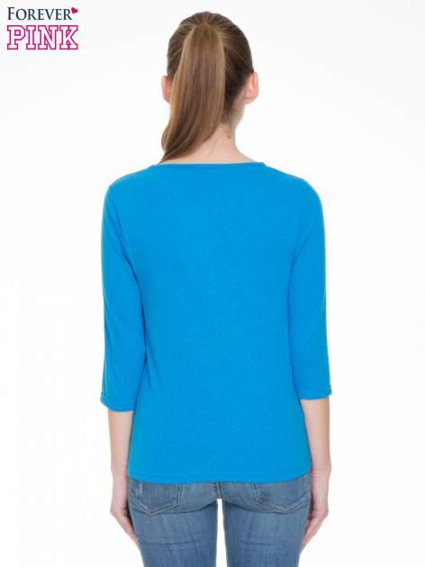 Niebieska gładka bluzka z rękawem 3/4                                  zdj.                                  4