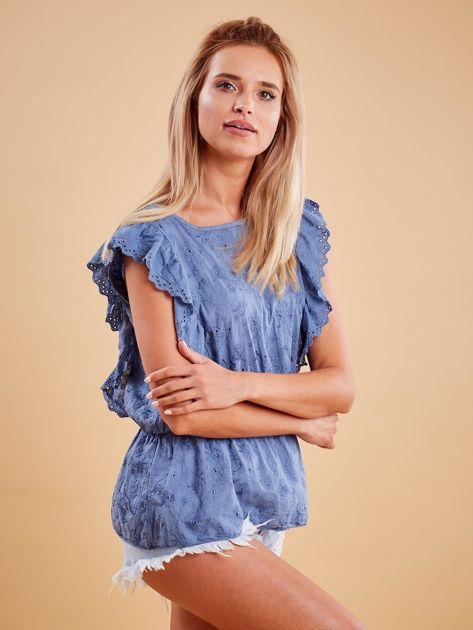Niebieska haftowana bluzka z marszczeniem                              zdj.                              3