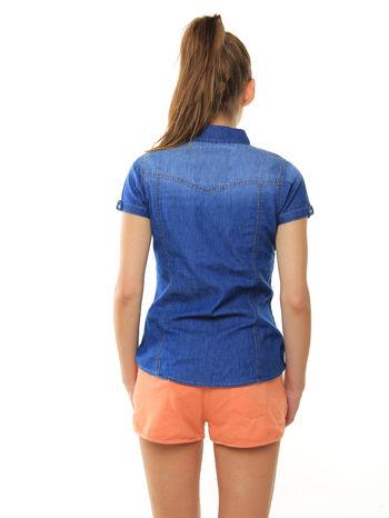 Niebieska jeansowa koszula z krótkim rękawem                                  zdj.                                  3