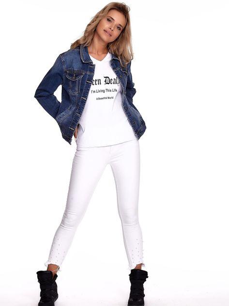 Niebieska jeansowa kurtka z kołnierzykiem PLUS SIZE                              zdj.                              4