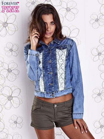 Niebieska jeansowa kurtka z koronkowymi wstawkami                                  zdj.                                  4
