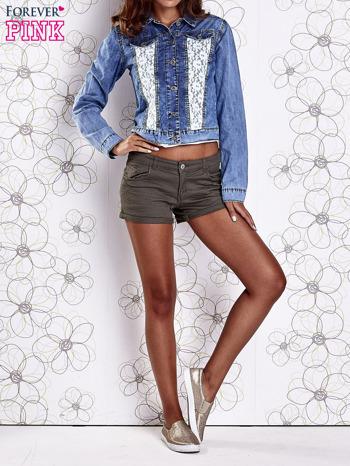 Niebieska jeansowa kurtka z koronkowymi wstawkami                                  zdj.                                  6