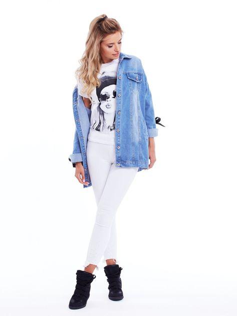 Niebieska jeansowa kurtka ze sznurowaniem na rękawach                              zdj.                              4