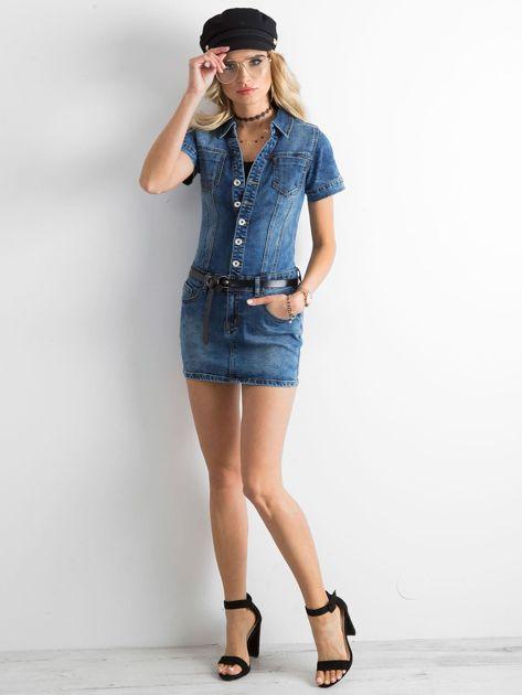 Niebieska jeansowa sukienka mini                              zdj.                              4