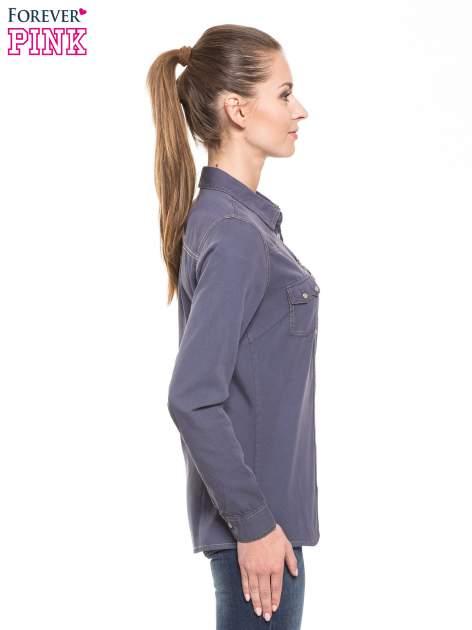 Niebieska klasyczna koszula jeansowa z długim rękawem                                  zdj.                                  2