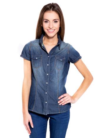 Niebieska koszula jeansowa z krótkim rękawem                                  zdj.                                  2
