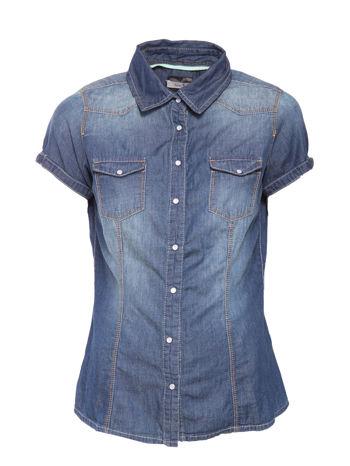 Niebieska koszula jeansowa z krótkim rękawem                                  zdj.                                  1