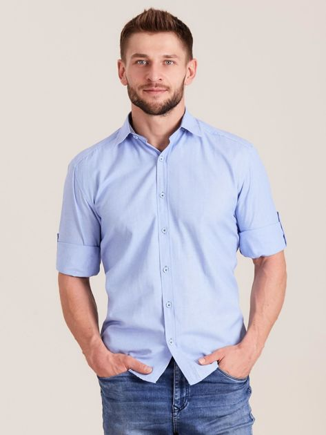 Niebieska koszula męska o regularnym kroju                              zdj.                              1