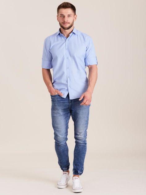 Niebieska koszula męska o regularnym kroju                              zdj.                              4