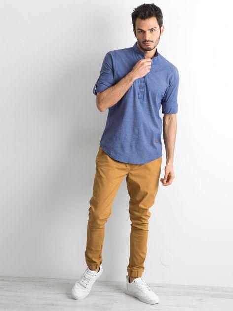 Niebieska koszula męska regular fit ze stójką                               zdj.                              4