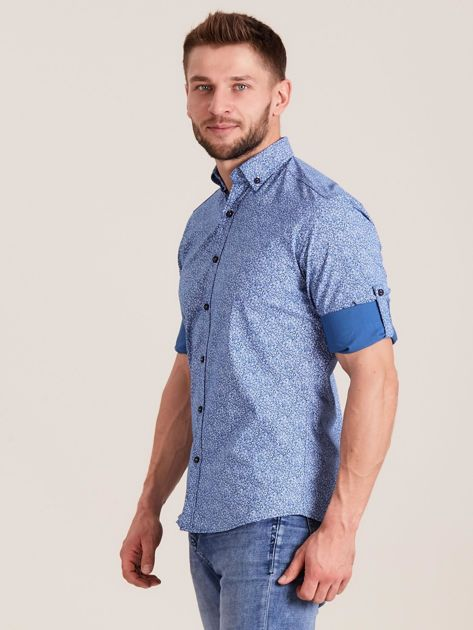Niebieska koszula męska we wzory                              zdj.                              3
