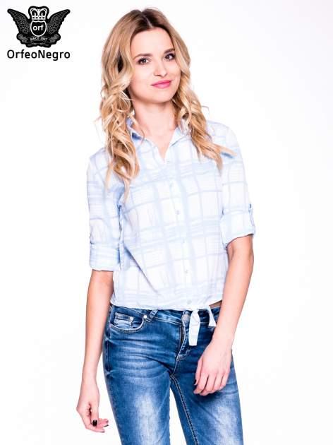 Niebieska koszula w kratę wiązana na dole                                  zdj.                                  5