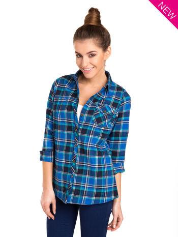 Niebieska koszula w kratę z kieszonką z przodu                                  zdj.                                  2