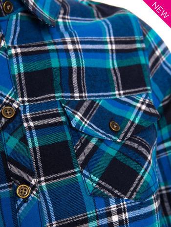 Niebieska koszula w kratę z kieszonką z przodu                                  zdj.                                  7