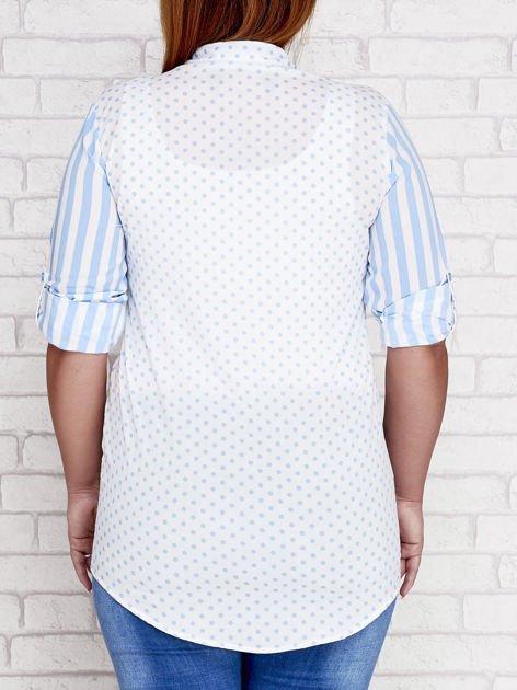 Niebieska koszula w paski i grochy PLUS SIZE