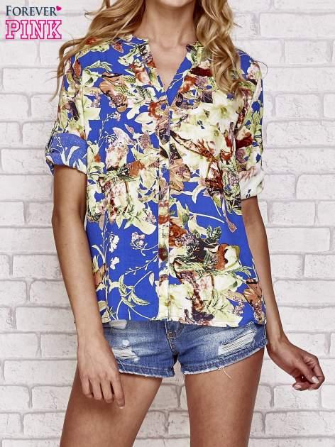 Niebieska koszula z nadrukiem kwiatowym                                  zdj.                                  1