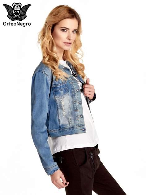 Niebieska kurtka jeansowa damska z przetarciami                                  zdj.                                  3