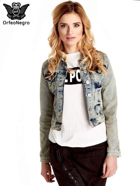 Niebieska kurtka jeansowa damska z przetarciami                                  zdj.                                  1
