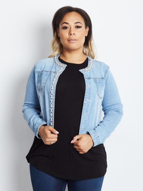 Niebieska kurtka jeansowa plus size Shimmers                              zdj.                              3