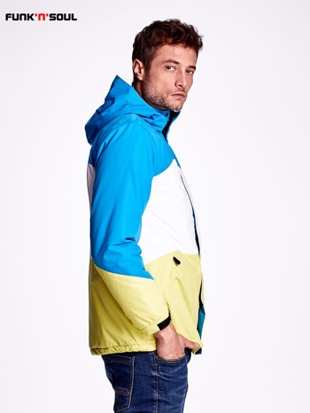 Niebieska kurtka męska z kolorowymi modułami FUNK N SOUL                              zdj.                              3