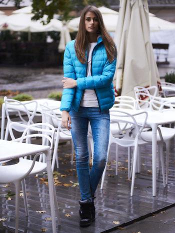 Niebieska kurtka z futrzanym kołnierzem                                  zdj.                                  11