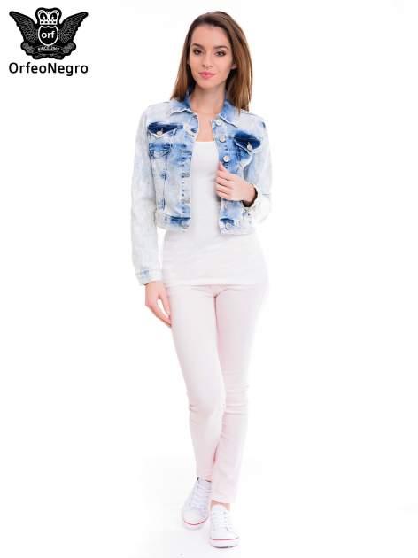 Niebieska marmurkowa kurtka jeansowa damska                                  zdj.                                  2