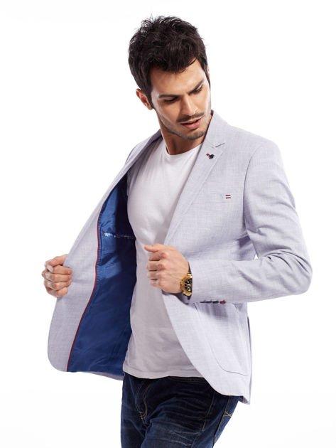 Niebieska marynarka męska slim fit w drobny deseń                              zdj.                              3