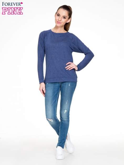 Niebieska melanżowa bawełniana bluzka z rękawami typu reglan                                  zdj.                                  2