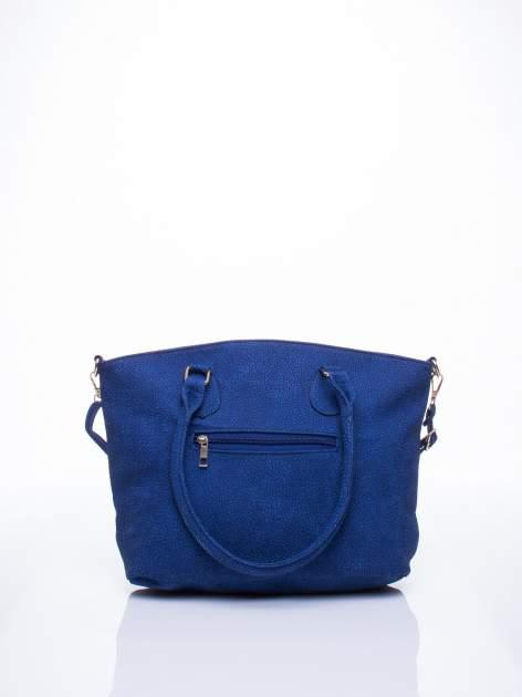 Niebieska miejska torba z czarną lamówką                                  zdj.                                  4
