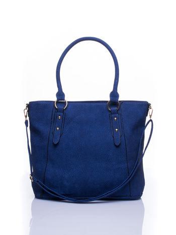 Niebieska miejska torba z ozdobnymi klamrami                                  zdj.                                  1