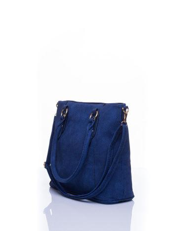 Niebieska miejska torba z ozdobnymi klamrami                                  zdj.                                  4