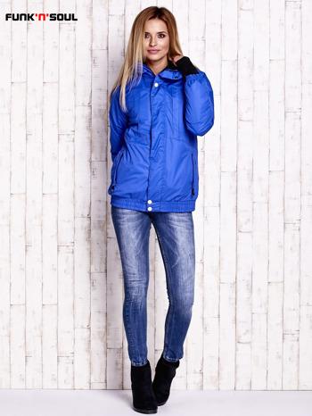 Niebieska ocieplana kurtka narciarska z kapturem FUNK N SOUL                                  zdj.                                  2