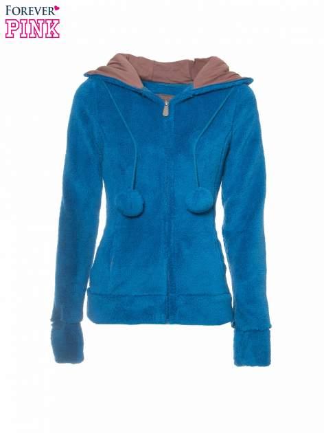 Niebieska polarowa bluza miś z kapturem z uszkami i pomponami                                  zdj.                                  2