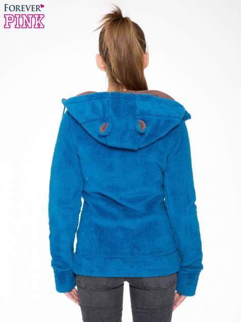 Niebieska polarowa bluza miś z kapturem z uszkami i pomponami                                  zdj.                                  4