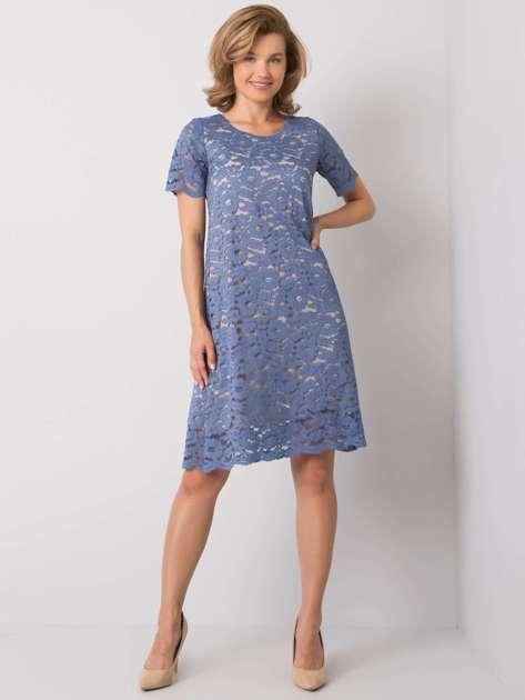 Niebieska sukienka koronkowa Lulu