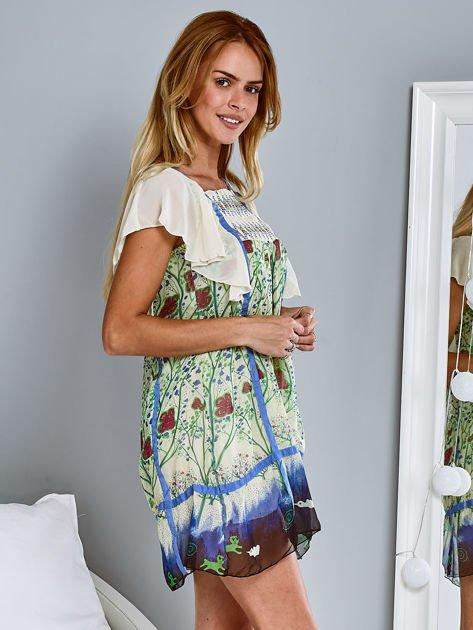 Niebieska sukienka letnia mgiełka w kwiaty                                  zdj.                                  3