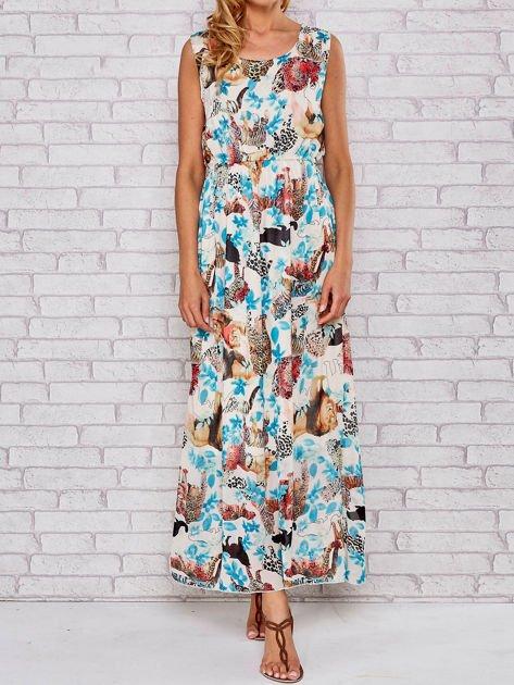 Niebieska sukienka maxi z motywem leopard print                                  zdj.                                  1