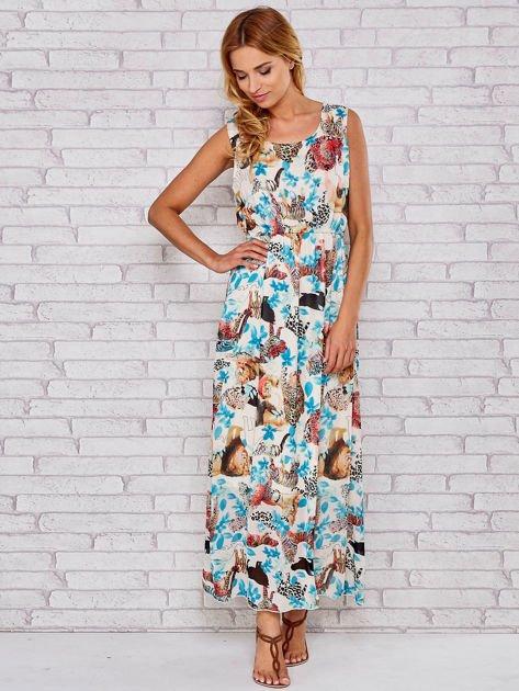 Niebieska sukienka maxi z motywem leopard print                                  zdj.                                  4