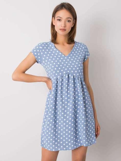 Niebieska sukienka w grochy Sariah RUE PARIS