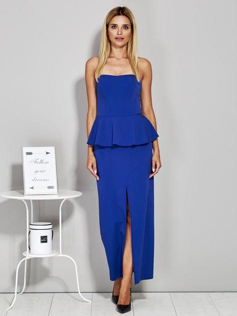 Niebieska sukienka wieczorowa z baskinką                              zdj.                              1