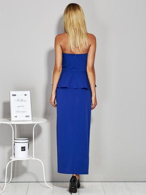 Niebieska sukienka wieczorowa z baskinką                              zdj.                              2