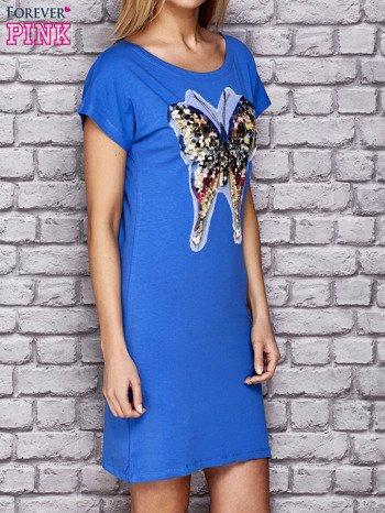Niebieska sukienka z cekinowym motylem                                  zdj.                                  3