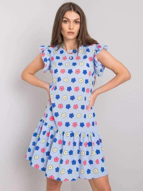 Niebieska sukienka z falbaną Eria