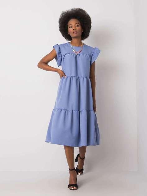 Niebieska sukienka z falbaną Jaylin RUE PARIS