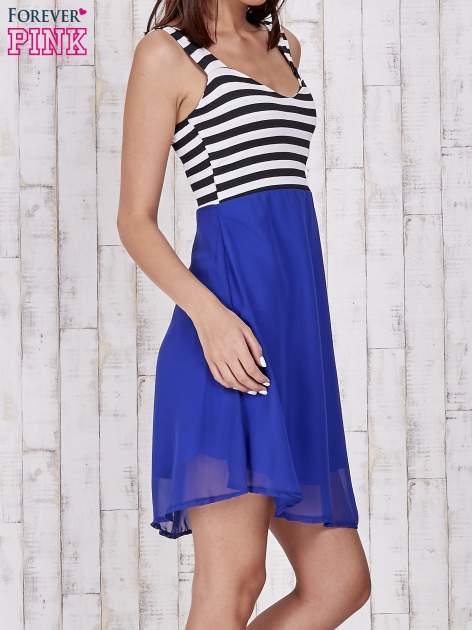 Niebieska sukienka z górą w paski                                  zdj.                                  3