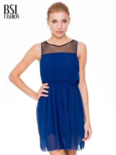Niebieska sukienka z koronkowym karczkiem                                  zdj.                                  1