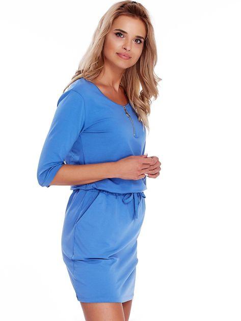 Niebieska sukienka z suwakiem                              zdj.                              3