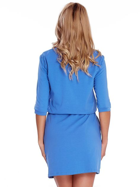 Niebieska sukienka z suwakiem                              zdj.                              2